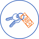 Keys and money icon for HST rental rebate